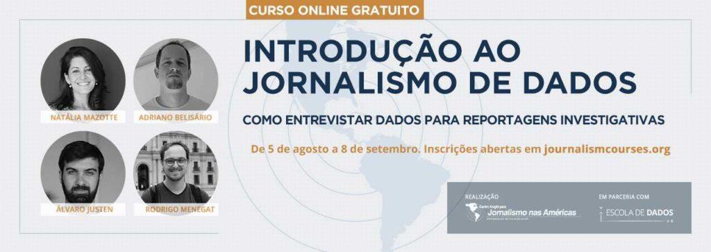 Banner curso Introdução ao jornalismo de dados