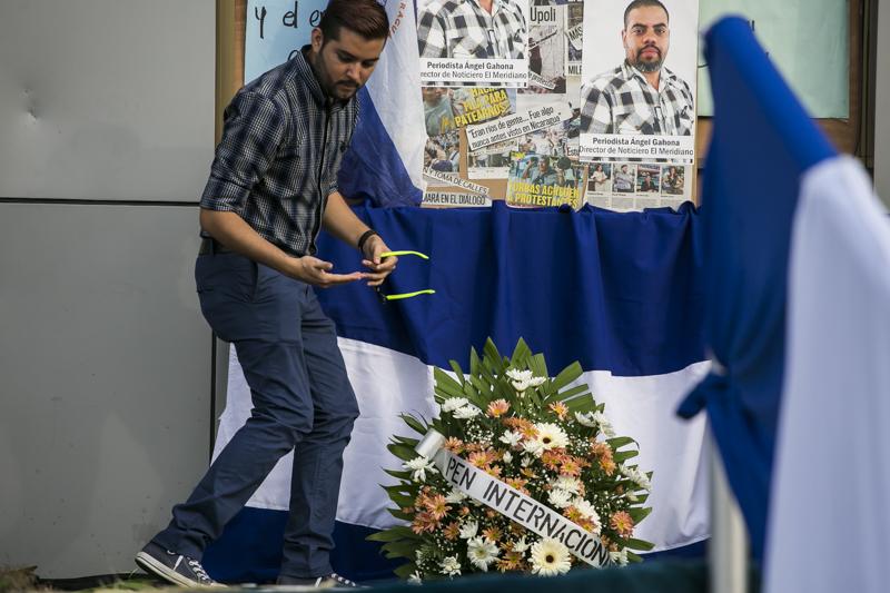 Memorial to Ángel Gahona, journalist killed in Nicaragua