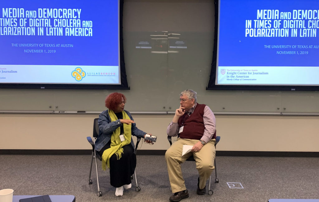 "Luz Mely Reyes and Joe Straubaar speak during the event ""Media and Democracy in Times of Digital Cholera and Polarization in Latin America."" (Teresa Mioli/Knight Center)"